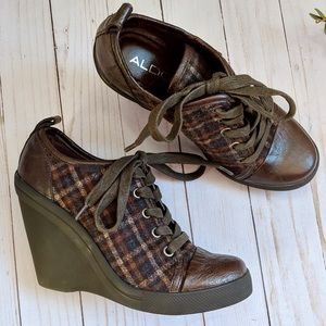 Aldo plaid and leather lace up wedges